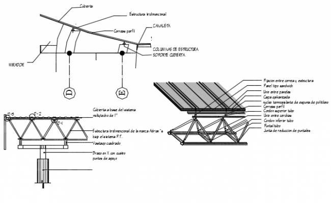 Solar plate plan and section detail dwg file