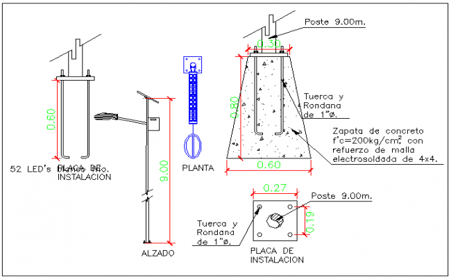 Solar street lamp detail view information dwg file