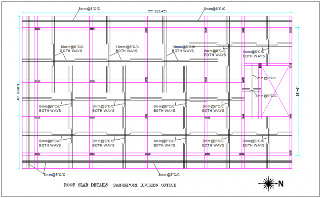 Soldier's division office roof slab view with structural view dwg file
