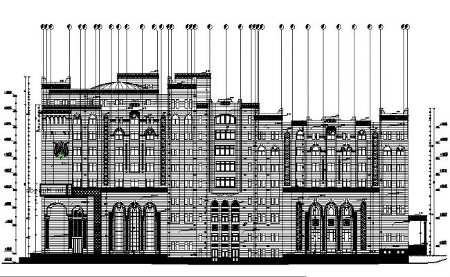 South elevation details of multi-flooring government building dwg file