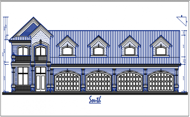 South elevation view of bungalow dwg file