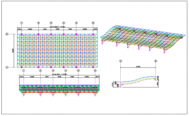 Space frame layout and support location detail view dwg file
