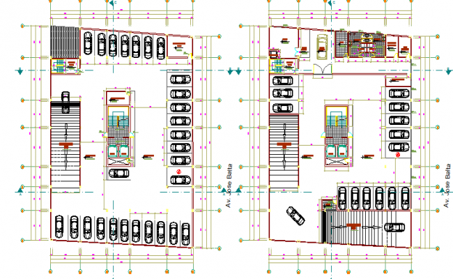 Spacious parking layout plan dwg file