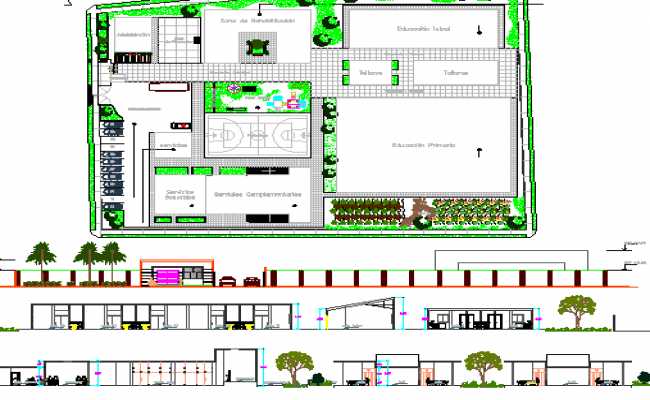 Special Education Center Architecture Project with Sports Ground dwg file