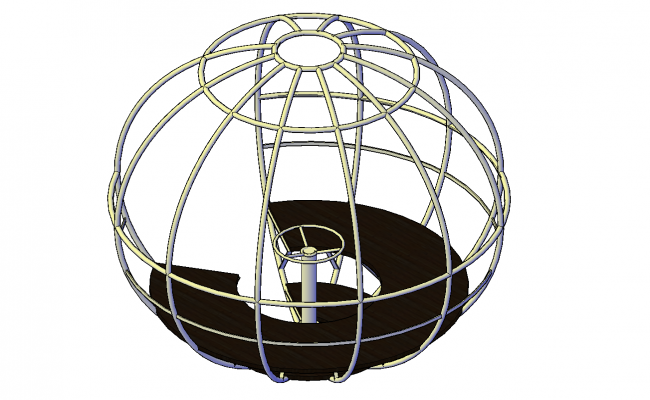 Spinning sphere plan detail dwg file.