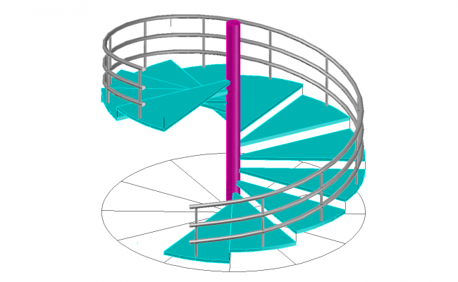 Spiral 3d stair cad blocks Spiral stair cad