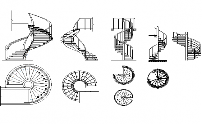 Spiral Stair Plan And Elevation Detail Dwg File