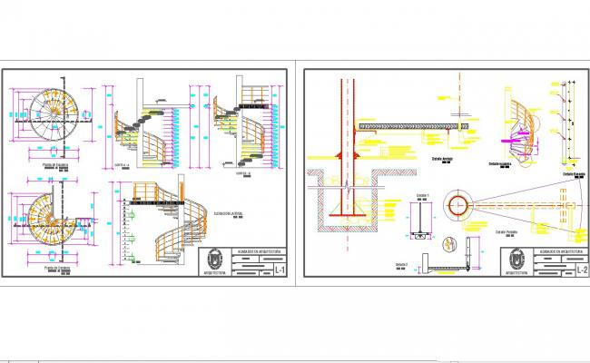 Spiral staircase design and detail in autocad dwg files