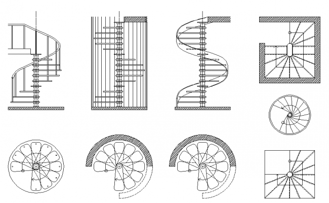 Spiral staircase elevation designs dwg file