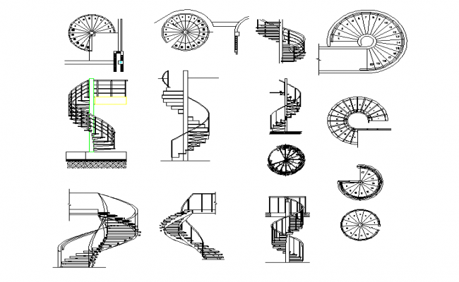 spiral stairs plan detail dwg file
