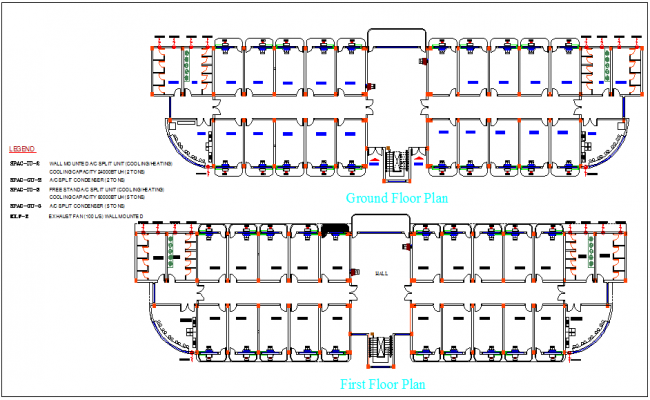 Split Ac line view of home ground floor and first floor dwg file