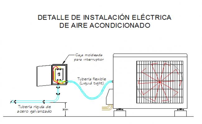 Split air condition installation details dwg file