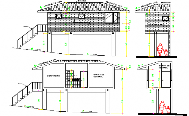 Sports Center Architecture Plan and Elevation dwg file