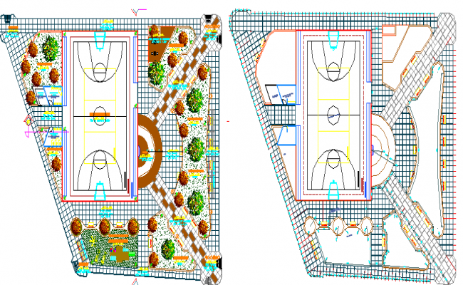 Sports Center Architecture Project Two Parts dwg file