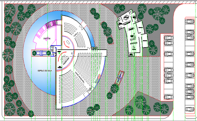 Sports Center of Paris Site Plan and Landscaping Details dwg file