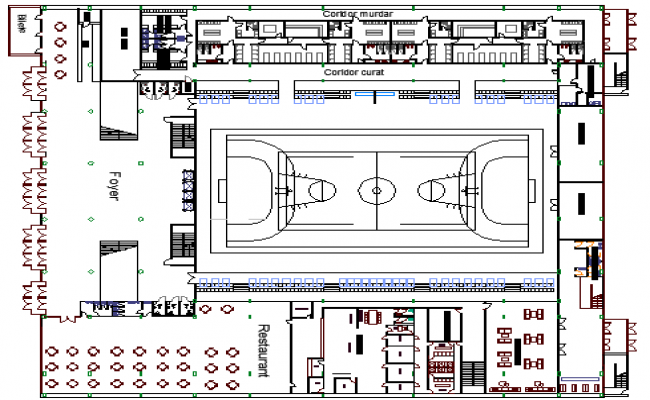 Sports Stadium Architecture Elevation and Structure Details dwg file