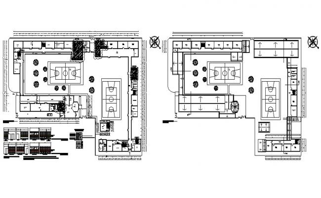 Sports center bathrooms elevation, installation details with distribution plan cad drawing details dwg file