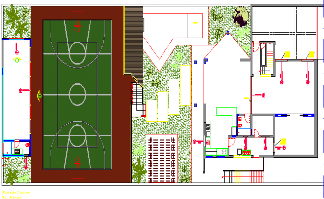Sports center landscaping details with structure dwg file