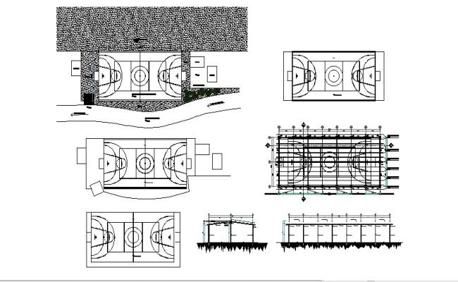 Sports center section, plan and ground cad drawing details dwg file