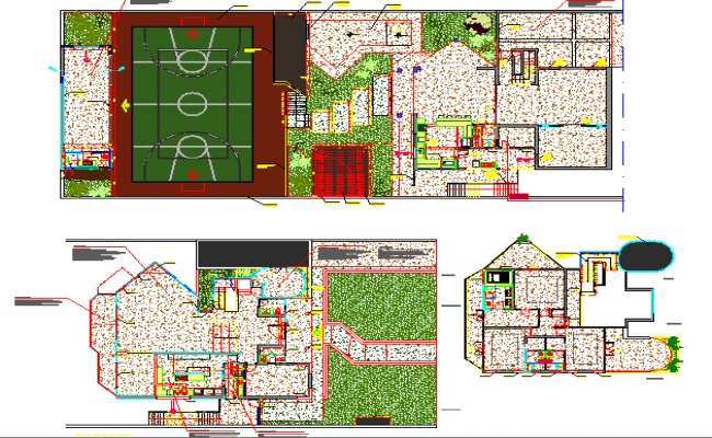 Sports ground landscaping details of urban school dwg file