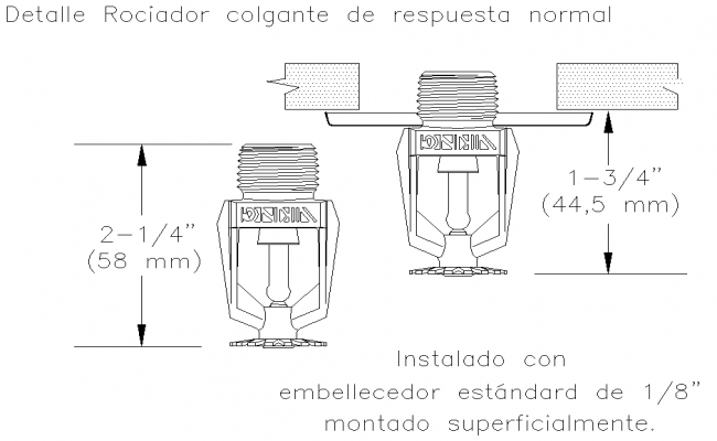 Sprinkler detail normal response pendant layout file