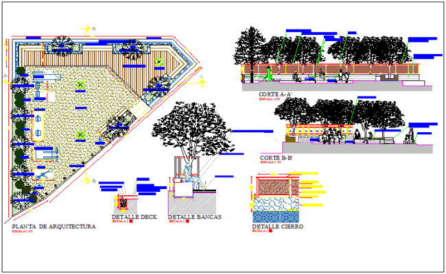 Square Corian public park architecture project details dwg file