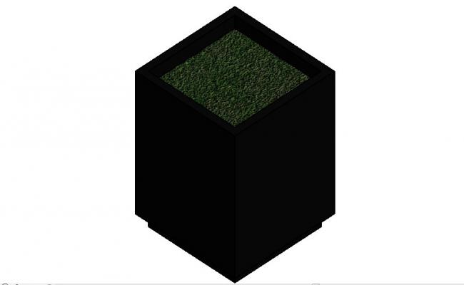 Square ceramic planter 3d block cad drawing details dwg file