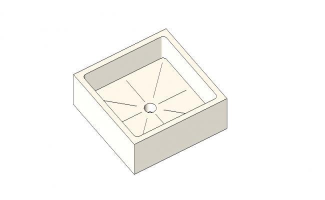 Square sink elevation 3d model cad drawing details skp file