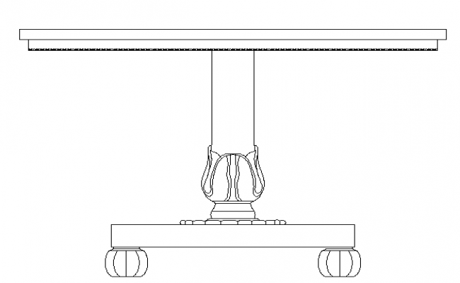 Square traditional dining table cad block details dwg file