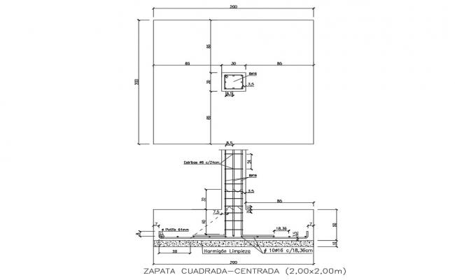 Squared center shoe and wall construction cad drawing details dwg file