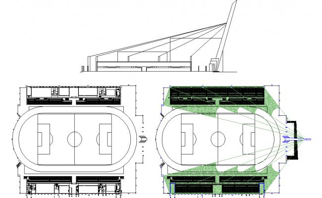 Stadium plan elevation and layout
