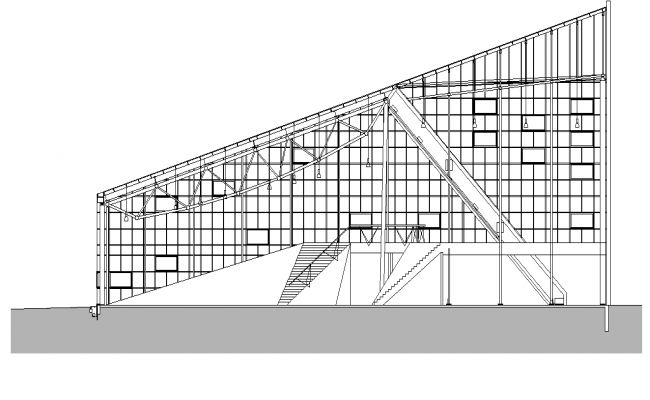 Stadium roof structure detail elevation 2d view layout file