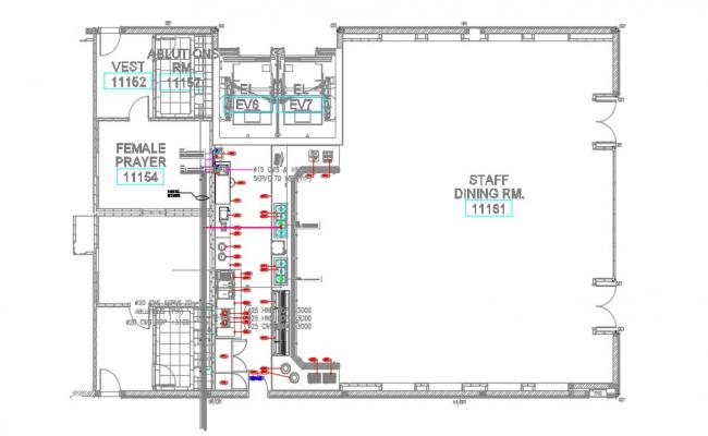 Staff Dining Area Design Layout Plan CAD Drawing