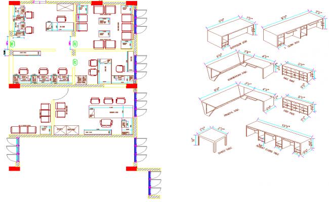 Staff room layout plan of a school dwg file