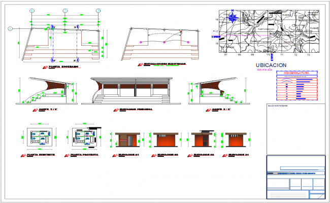 Stage architecture and civil detail cad drawing