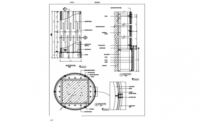 Stainless steel column elevation,section and plan with metal structure view dwg file