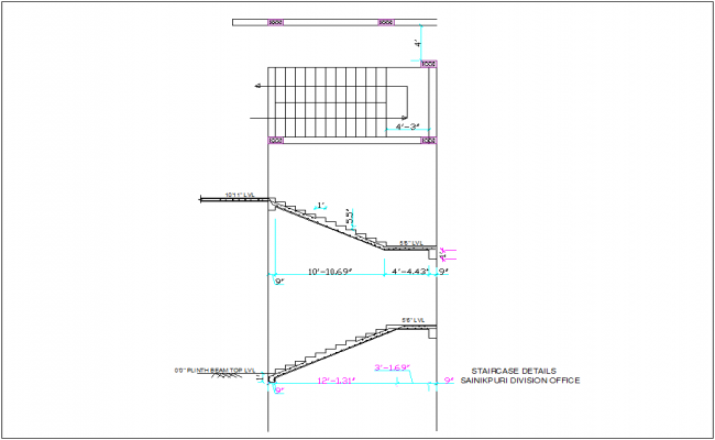 Stair case detail with construction view for Soldier's division office dwg file