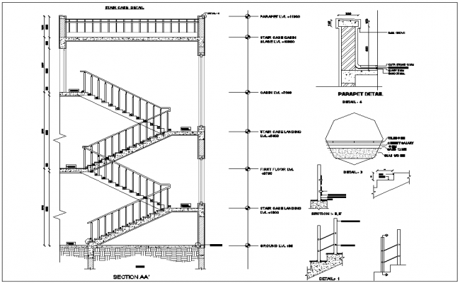 Stair case view with detail with construction view dwg file