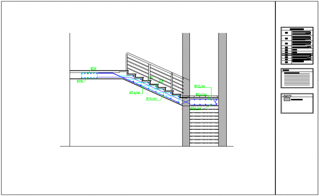 Stair construction detail for single story apartment dwg file