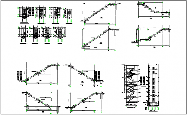 Stair construction detail view dwg file