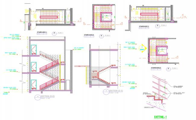 Stair constructions detail cad drawing