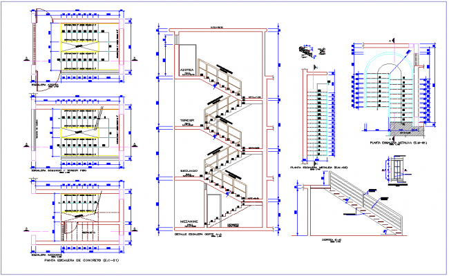 Stair detail view with elevation with construction view dwg file