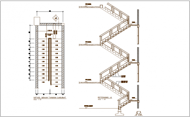 Stair detail view with stair elevation and floor construction view for government building dwg file