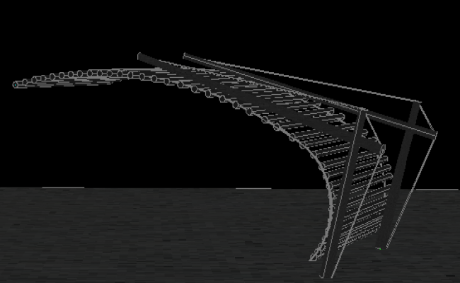 Stair elevation 3D view detail dwg file