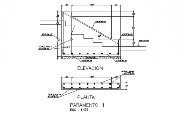 Stair elevation and plan, longitude plan section detail