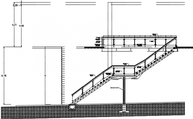 Stair elevation detail dwg file