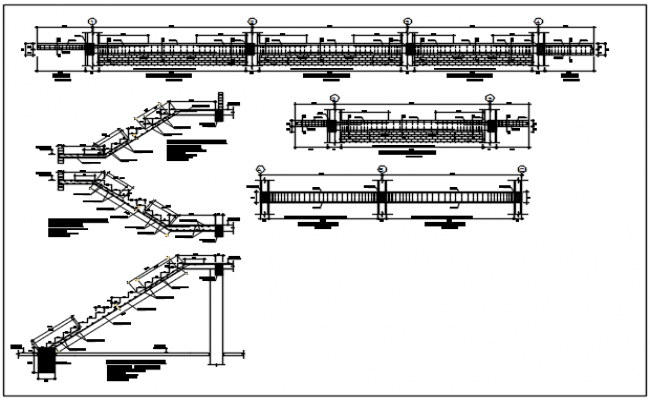 Stair elevation & section plan, longitude plan section detail dwg file