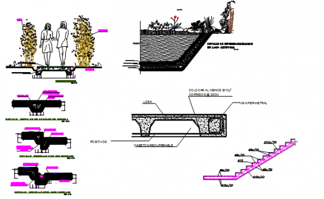 Stair elevation plan and section plan detail dwg file