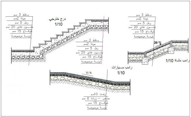 Stair elevation view with construction detail of building dwg file