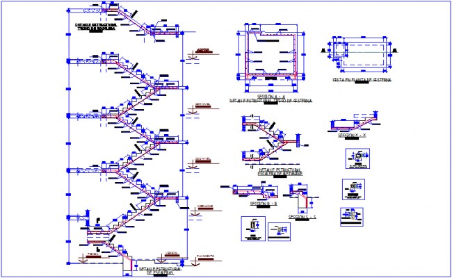 Stair elevation with floor and detail of construction view dwg file